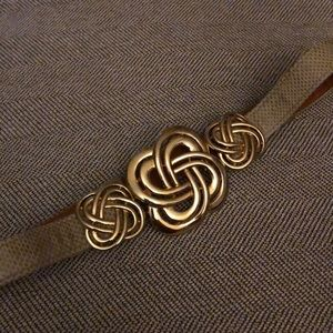 """Alexis Kirk Gold Buckle, 1"""" wide Taupe Snakeskin"""